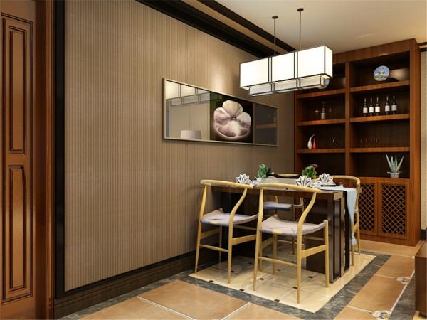 客厅与餐厅的背景墙用深色的软包,这样的设计既体现出客厅的时尚。