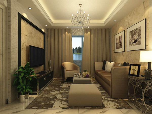 客厅没有过多的家具通过装饰的手法显得既不空又宽敞!
