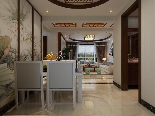餐厅的设计效果展示,餐厅的桌椅采用和客厅统一的现代风格,侧面的墙壁采用中国风的笔画做装点,整个就餐环境温暖而优雅。
