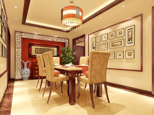 餐厅效果图  设计说明:现代中式以亮白色为主色调,其中融入中式风格的软装饰品。白红相间墙面上悬挂中国字画,另外墙面造型遵循简约风格,以工艺画来装饰。
