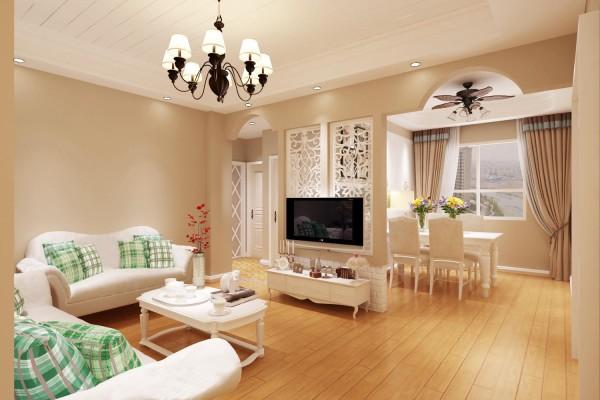 大城小院80平美式风格客厅效果图