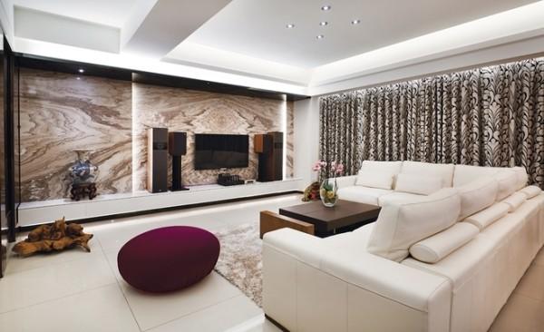 厅空间大量运用俐落线条与优雅配色,让空间展现最典雅、时尚的姿态
