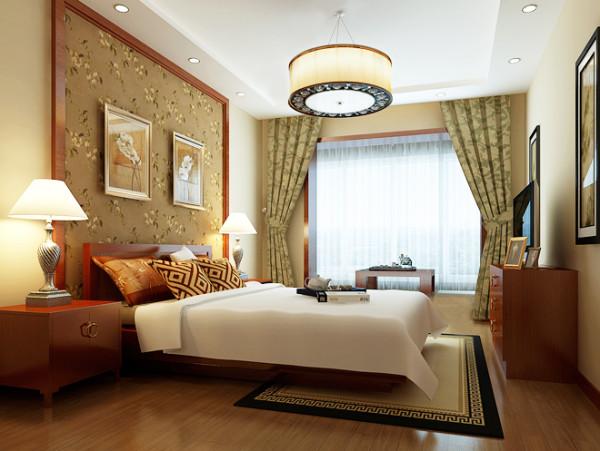 """卧室效果图  设计说明:一盏典型中式鼓形吊灯,使空间色彩对比柔和舒适。床头背景墙选用碎花棕底,与居室内的地板交相辉映,降低了居室的刺眼感,营造出利于睡眠的休息环境。"""""""