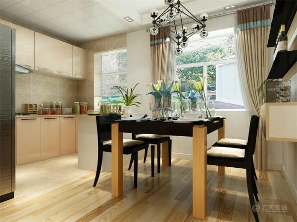 餐厅是家居生活的心脏,不仅要美观,更重要的实用性,整体性。墙上的隔板不仅具有装饰功能,还具有储藏功能。餐桌椅运用了时尚而简洁的造型。