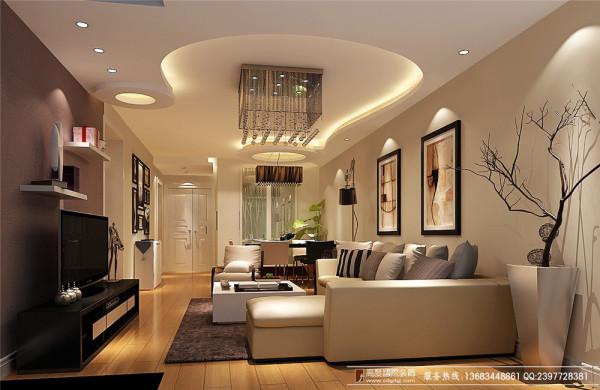奢华木质温馨 高度国际  素雅3居 客厅