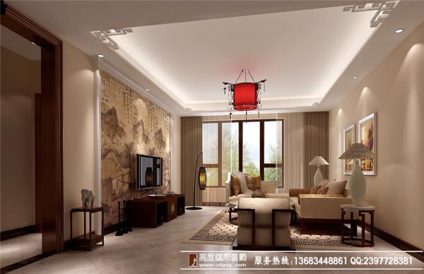 典雅魅力 高度国际新中式淡雅3居 客厅