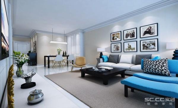 客厅背景墙是六幅现代抽象主义的插画,即协调了空间的层次,更增加了整个空间的气氛。 六幅插画既是视觉的中心,也是视觉的开始