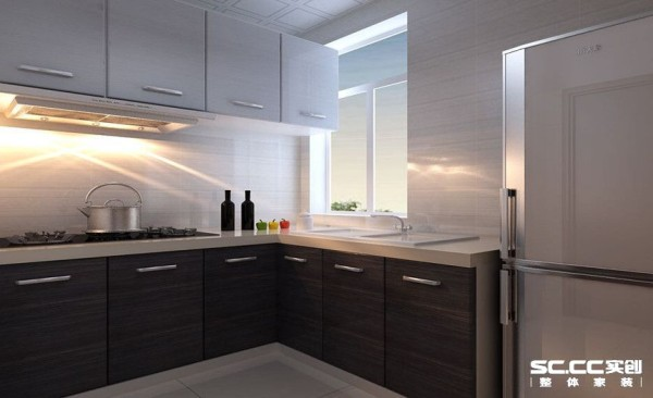 厨房设计: 以黑白为主色调,大地砖明亮简洁,使得厨房干净明亮。