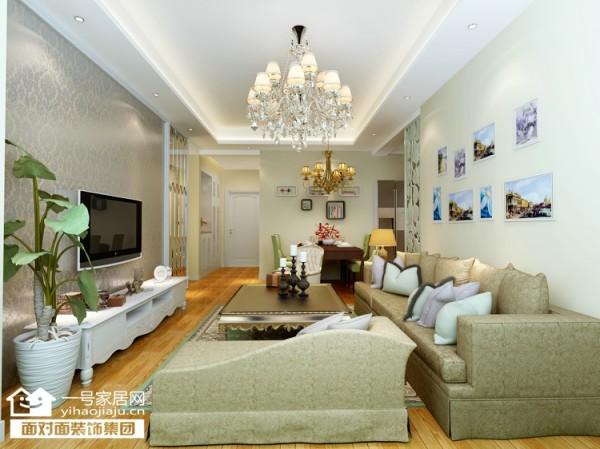 武汉奥山世纪城97平现代简约风格客厅效果图