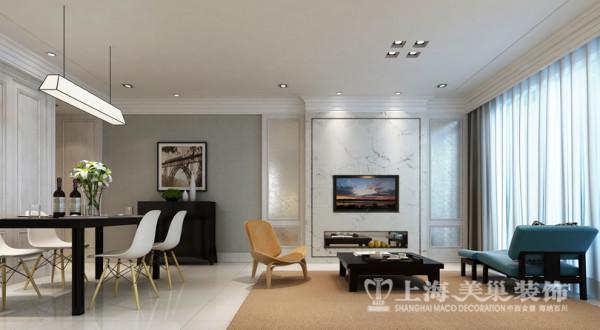 中豪汇景湾简欧装修120平3室2厅样板间效果图——电视背景墙效果图