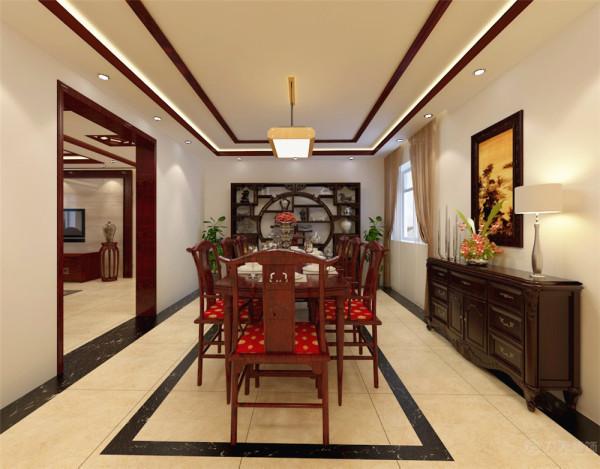 餐厅采用简洁的造型,使用中式的博古架,中式的餐桌,色调温馨,给人以舒适的感受。