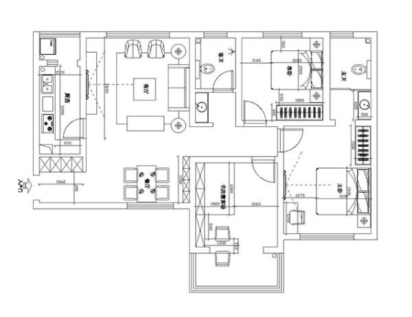 郑州中豪汇景湾120平三室两厅北欧装修效果图案例——户型平面布局图
