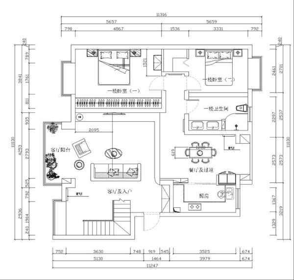 郑州鑫苑名家230平5室2厅现代简约装修风格平面布局图