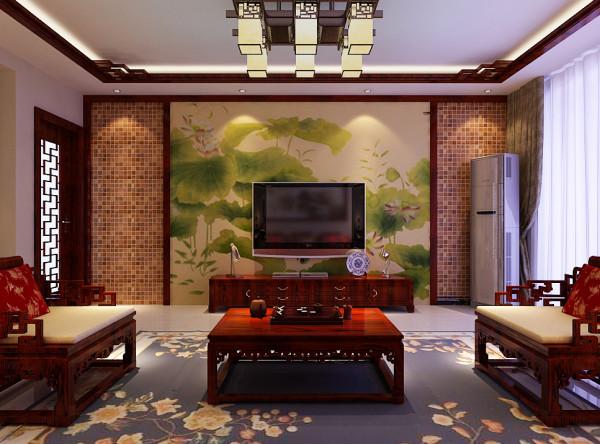 客厅电视墙的设计两边设计木质纹理的对称造型,中间用荷花无纺壁纸做装饰,中国风油然而生。顶部做方形回字吊顶,中国风中讲究方正,方正的图形易聚财。