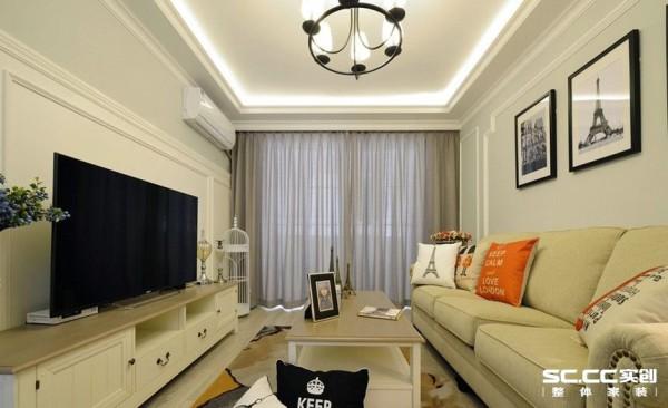 客厅设计: 采用直线型吊棚简单大方,电视墙采用护墙板,沙发背景墙采用直线石膏线勾勒,前后呼应,整体风格采用浅色调使空间简单明亮