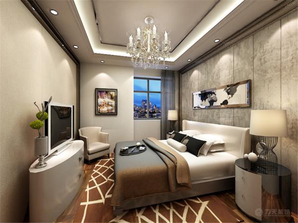 。在卧室的设计上,为了让业主得到最大的放松,不失个性。用装饰墙柔美的曲线做成了包住了床,给人以温馨安全的心理,使业主更加的放松,休息的更好。