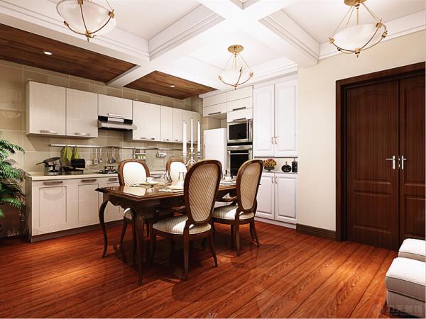 餐桌的选择首先在四人的美式餐桌,白色的吊顶,配备四盏美式的吊灯作为光源。