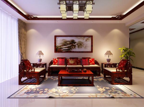 客厅的沙发墙面设计,这里不做过多的修饰,主人喜欢简单的品质型装修,在中式风格中往往一些简单的勾勒就能够很好的做出装修风格。