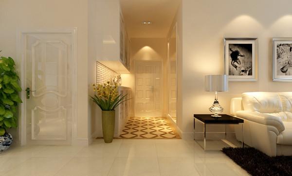 门厅采用镂空门厅柜造型及地面大理石拼花,增强了门厅的设计感;