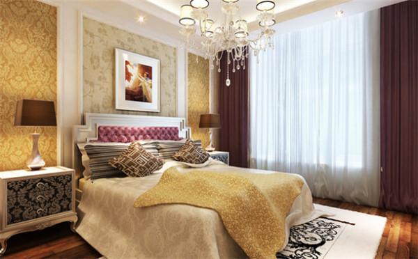 设计理念:主卧作为业主休憩的场所,给人舒适的感觉,让业主在家里面更加放松。亮点:柔和的灯光加上舒适性的壁纸颜色,是大