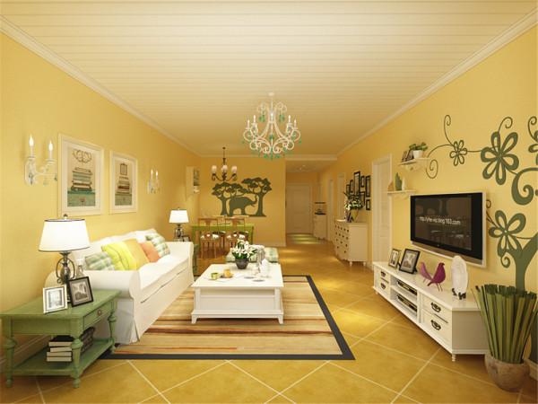 沙发背景墙用照片来装饰,电视背景墙做了花纹的彩绘处理,增加了趣味性图片