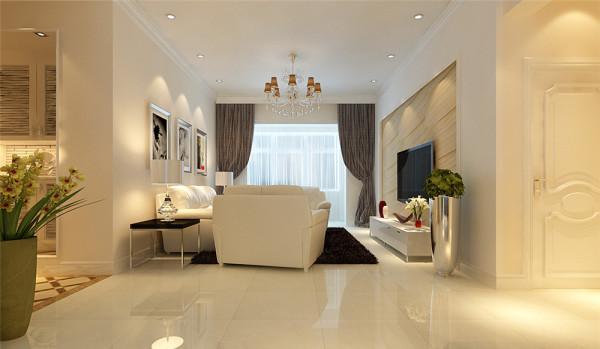 本案以简洁明快的设计风格为主调,在总体布局方面考虑到实用与美观相结合。以乳胶漆的简洁装饰及浅色家具布艺创造一个温馨,健康的家庭环境。门厅采用镂空门厅柜造型及地面大理石拼花,增强了门厅的设计感