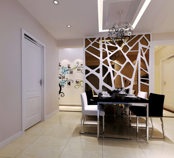 背景墙用茶色镜面既增加了空间进深感又带来现代的质感。吊顶用条形石膏板再暗藏灯带,与客厅达到了完美的统一。第一眼会看到美丽的餐厅背景墙,给人以温暖和安全的感觉从材质到颜色到造型的精心搭配,使空间明快起来