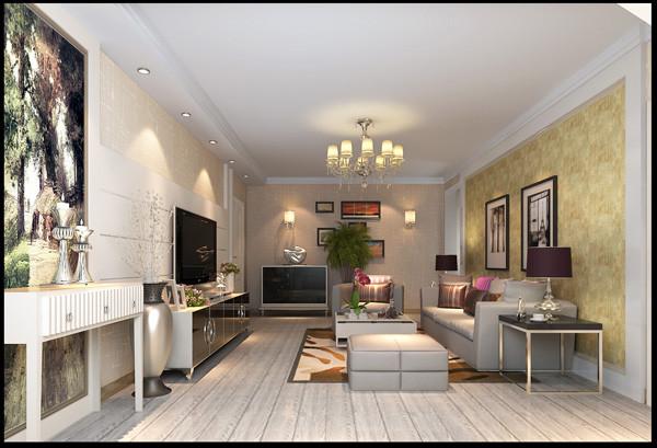客厅:业主整体比较注重色彩的搭配,淡黄色纹理墙纸与白色的电视背景墙搭配左面的相框整体的搭配既显得空间的层次感分明又给予了空间的大气规矩,根据主人的性格特点简单的吊顶设计同样满足了空间的美感。