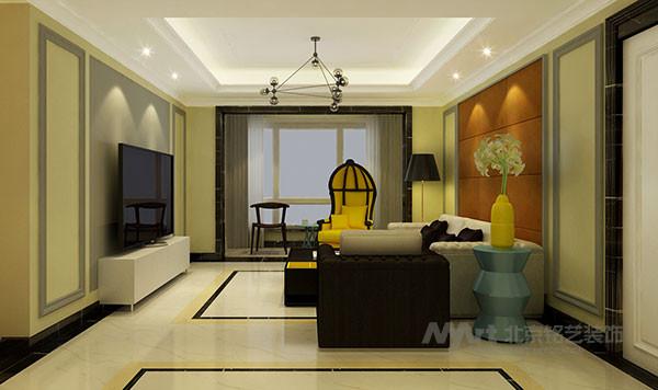 墙面采用干净的浅黄色硅藻泥材质,加强材质变化的同时也有助于净化空间环境。局部造型墙面采用区别于大面形式突出重点。