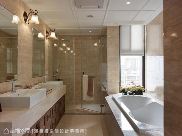 在建商原有的设备上,加入天花立体线条、古典壁灯与胡桃木浴柜,呼应整体设计风格