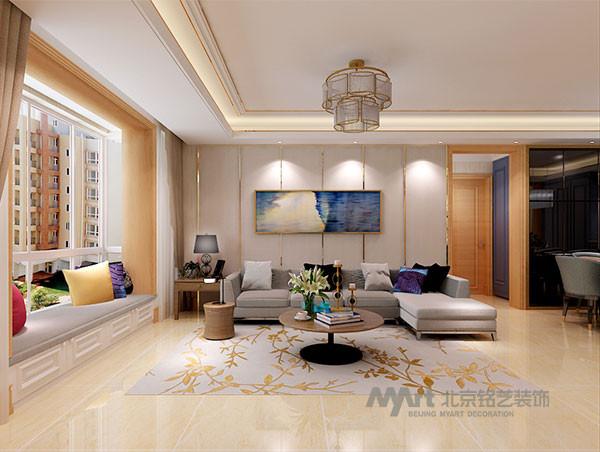 客厅的设计,在空间平面设计中追求不受承重墙限制的自由,室内空间开敞、内外通透,隐藏在墙壁中间的射灯,为空间增添了些许温馨浪漫的感觉。