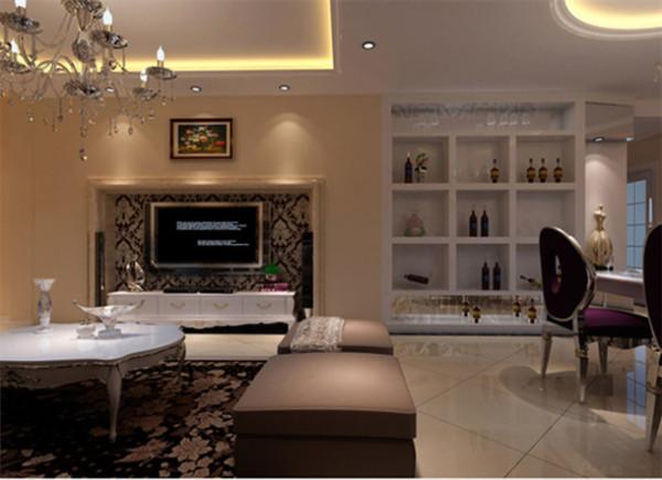华丽的装饰,精美的造型达到雍容华贵的装饰效果,用大型灯池并用华丽的枝形吊灯营造气氛,布艺沙发组合有着丝绒的质感以及流畅的木质曲线.