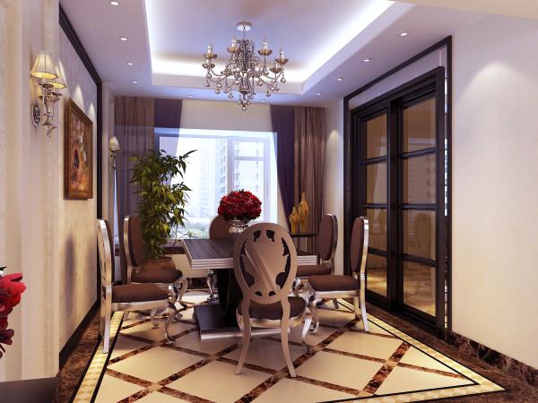 餐厅:石材拼花地面、装饰吊顶、墙面装饰柱及石材的装饰线条处处显示高雅庄重的氛围