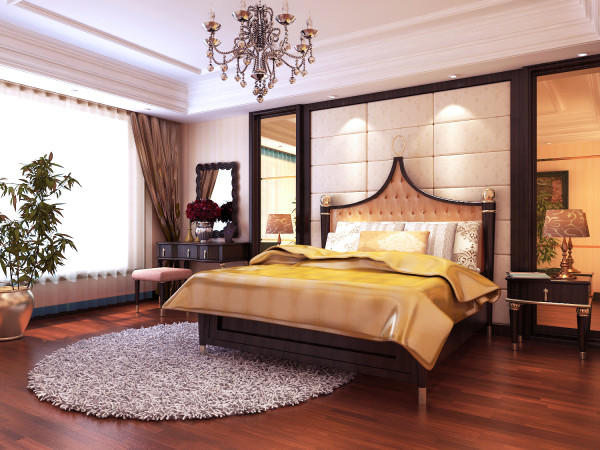 卧室:主人卧室装饰造型吊顶、温馨的墙纸、实木地板处处都给人以温馨静谧的氛围
