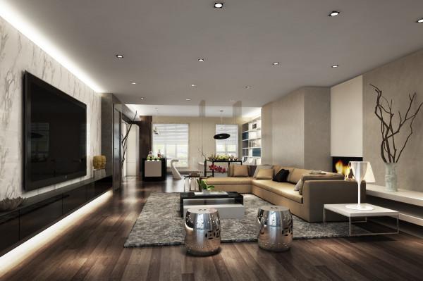 客厅的沙发线条十足,金属材质的坐凳更是更空间完美结合,没有看出生硬。没有复杂的工艺,有的只是舒适