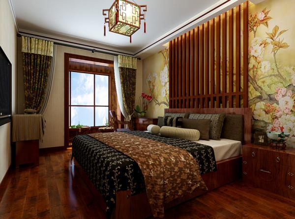主卧室设计效果展示,床头位置用壁纸和木格栏做装饰