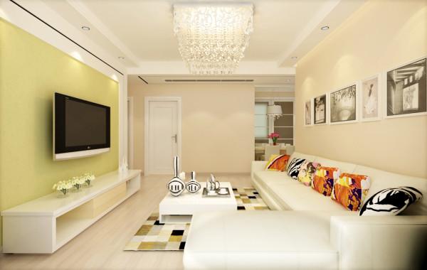 客厅:影视墙淡绿色的和沙发背景墙淡黄色给人一种清新铺面的感觉。