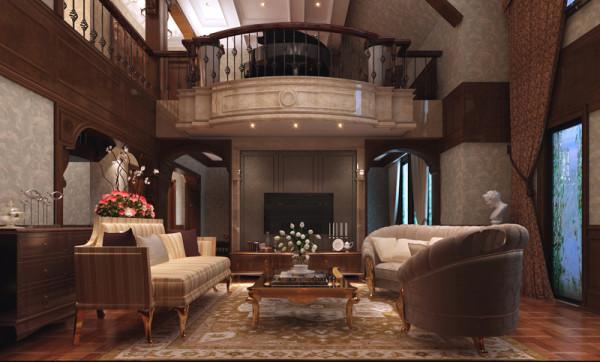 客厅电视墙装修设计效果展示,这里是客厅的整体观览角度,美式的实木家具选择板式家具,坐上去轻松自然。