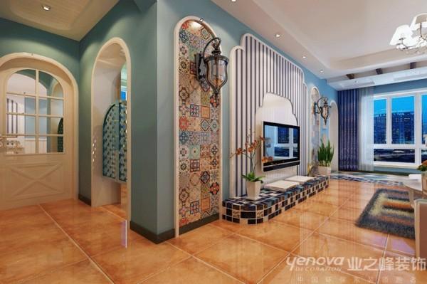 客厅区域,业之峰装饰设计师在设计此区域时,主要是涂料的运用,运用了一些圆拱门洞等造型。