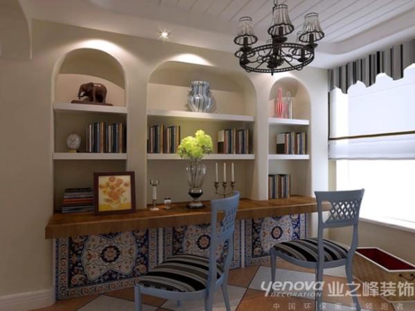书房区域,业之峰装饰设计师在考虑此区域时,主要运用圆形的拱洞,和比较自然的涂料,灯具等完美的搭配。