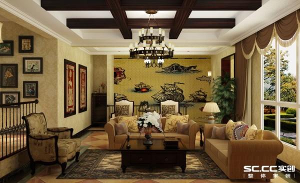 客厅设计: 整个空间以古典为主调,客厅采用精致美式沙发搭配地毯,打造舒适奢华的观影氛围