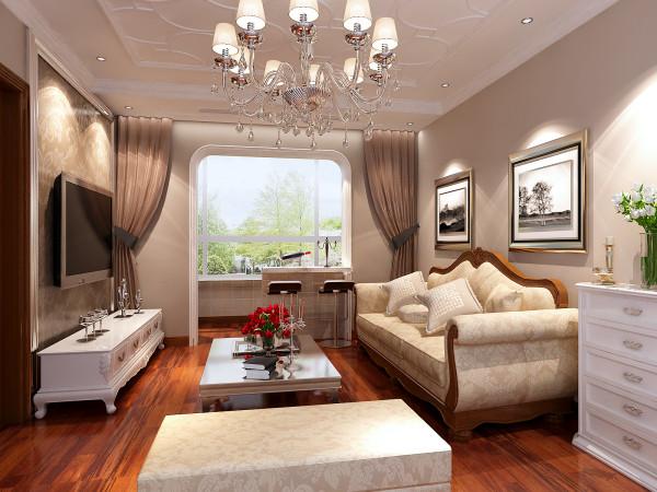 客厅华丽而具有民族风味的吊灯将客厅吊顶装饰出内涵,坐在客厅的角落里吹着清爽的海风,感觉到了度假的轻松