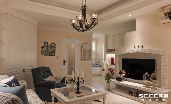 三居美式乡村收纳空间装修设计客厅装修效果图片 装修美图 新浪装修高清图片