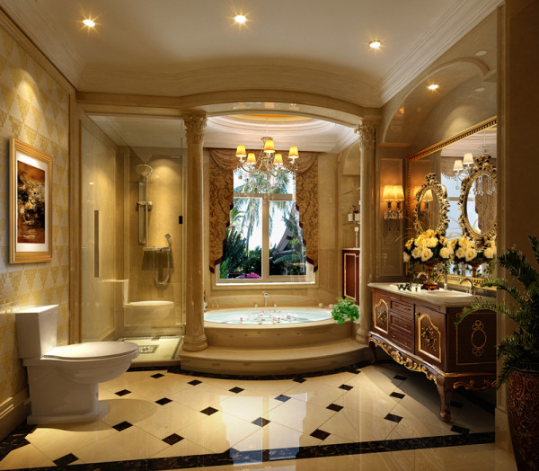 墙面大面积的使用了古典欧式色彩的壁纸配合经过提炼的欧式线条,使欧式不再是遥远的过去,而是鲜活时尚的品味象征。