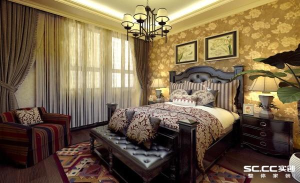 卧室设计: 卧室布置较为温馨,作为主人的私密空间,主要以功能性和舒适为考虑的重点,温馨柔软的成套布艺来装点,同时在软装和用色上非常统一。