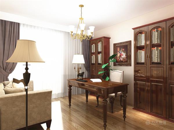 一间卧室改成书房,中间放置书桌,书柜靠墙放3个,靠窗放1个中间挂画,另一边放两个。整体木质,符合田园风格。
