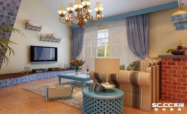 客厅设计: 电视下面的柜台既充当了电视柜同时也担任了楼梯踏步第一步的任务