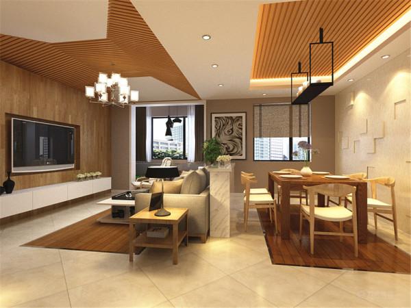 本户型为鹭岭三室两厅一厨两卫120㎡户型,整体布局合理。室内布置是以木色家具为主,整体感觉原生态、温馨。客厅的电视背景墙是以原木色木板装饰。
