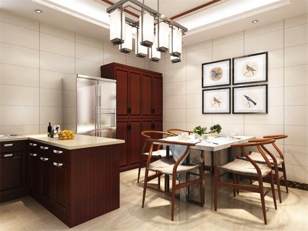 将厨房向餐厅延伸出一部分,使厨房空间变的宽敞,在餐厅设计一个吧台作为交流活动的区域将厨房餐厅联系起来,将冰箱和一些储物功能转移到餐厅,提高空间使用率。