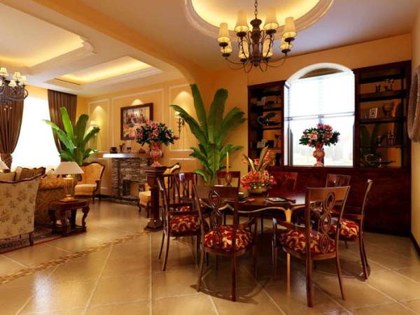 孔雀城(380平)联排别墅--美式田园风一层餐厅效果图展示